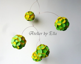 Spring Kinetic Mobile , Yellow Green , Paper balls Mobile