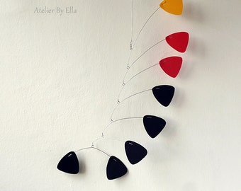 Hanging mobile, Black red yellow mobile, Kinetic , 8 elements