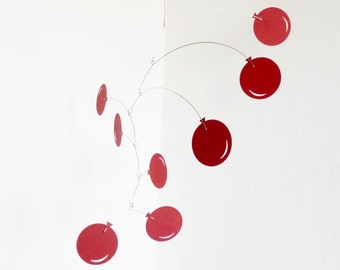 Red Balloons, Hanging mobile, Kinetic, Kids room decor, Nursery decoration