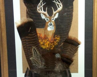 painted wild turkey tail feather deer white tailed deer wildlife art