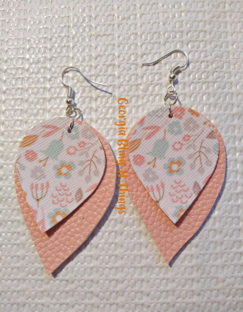 Bohemian Earrings. Rustic Leather Earrings Retro Style Earrings Stacked Earrings Cut Out Leather Earrings Leather Earrings