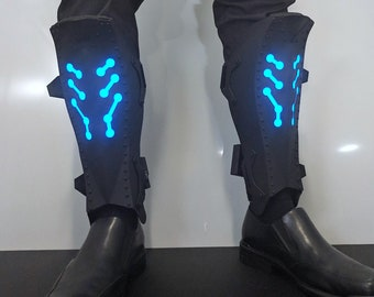 Metal Armor Greaves with Lighting Effects