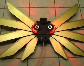 Mechanical Wings - Pull Cord Version in Gold with Red LED Light Effects