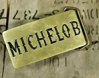1980s Brass Michelob Belt Buckle