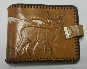 Vintage Tooled Leather Wallet - Stag & Mountain Billfold -