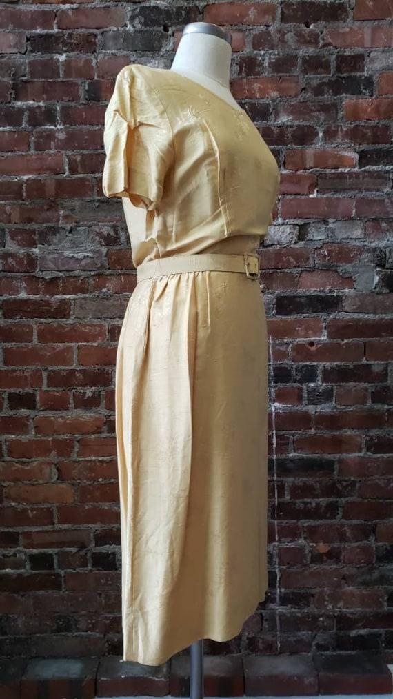 1950s Golden Silk L'Aiglon Dress - Embossed - Med… - image 5