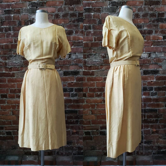 1950s Golden Silk L'Aiglon Dress - Embossed - Medi