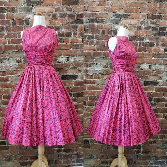 1950s Batik Cotton Party Dress - Fuchsia Anne Foga