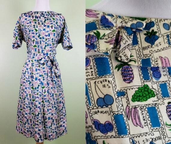 1ab6fe81f20 1950s Farmers Market Dress Silk Novelty Print Dress Fruit