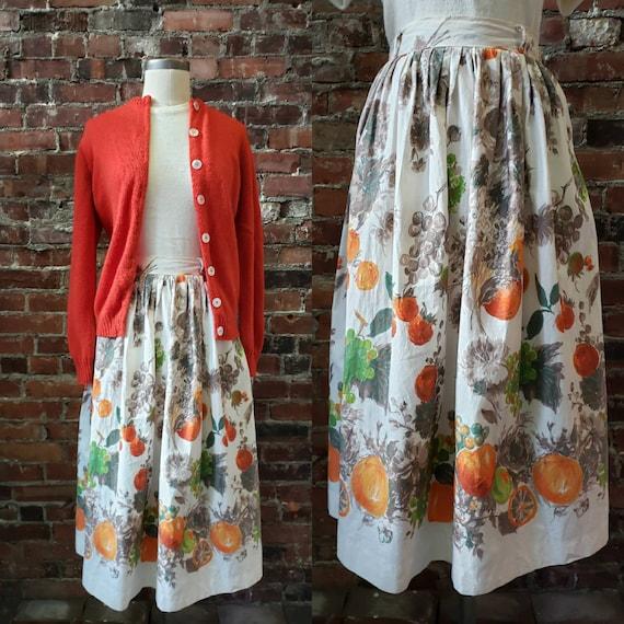 "1950s Fruit Print Skirt 26"" Waist"