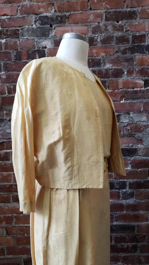 1950s Golden Silk L'Aiglon Dress - Embossed - Med… - image 6