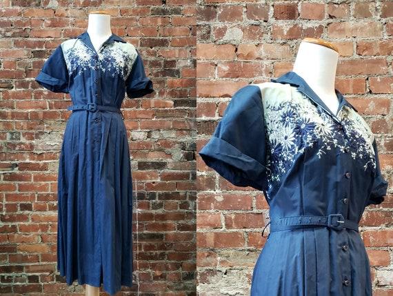 1950s Blue Day Dress - Vintage 50s Day Dress - Med