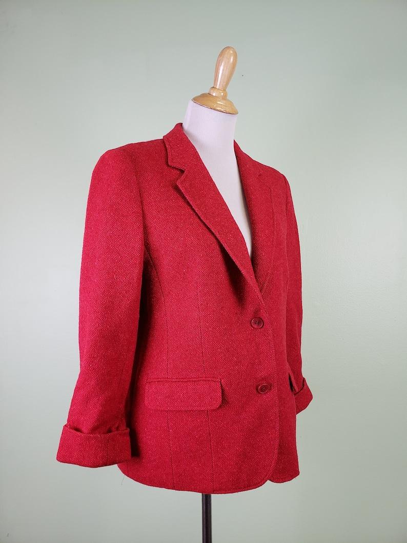 RED Women/'s Wool Blazer 1980s Pendleton Blazer Large