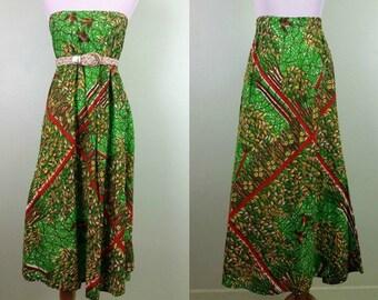 1970s Bird in Hand Maxi Skirt / Tube Dress - Small