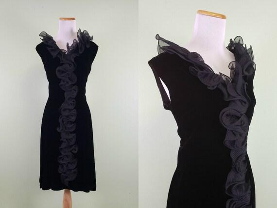 1960s Little Black Dress - Velvet Sixties Dress -