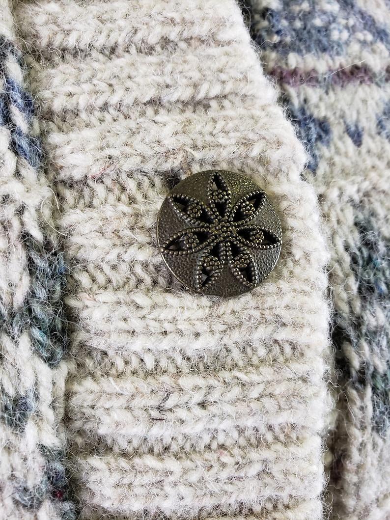 Vintage Alps Sweater XLarge Grey /& Blue Cardigan Sweater