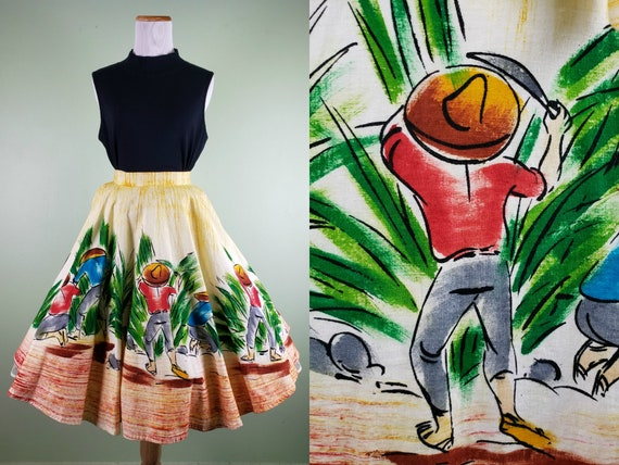 1950s Mexican Hand Painted Skirt - Lavable Full Ci