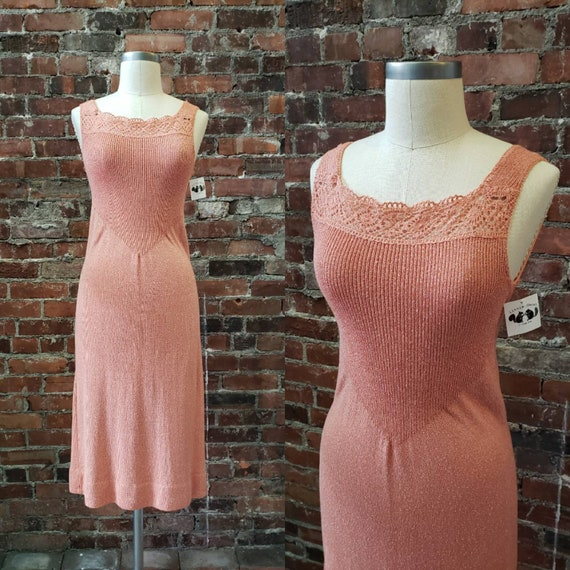 1960s Dusty Rose Knit Goldworm Dress - Small