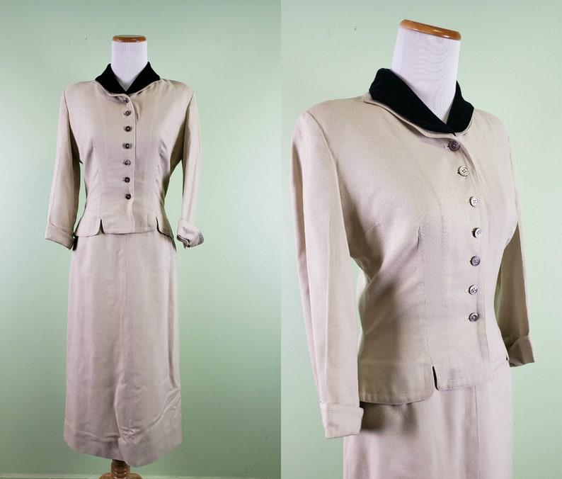 26 Waist 1950s Bonwit Teller 2 Piece Suit Vintage 50s Skirt and Jacket Set
