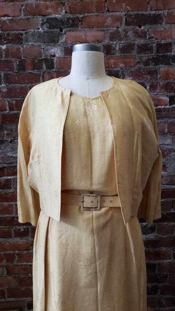 1950s Golden Silk L'Aiglon Dress - Embossed - Med… - image 7