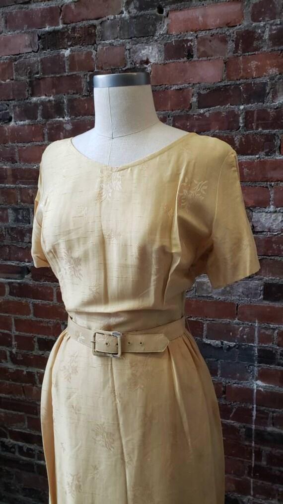 1950s Golden Silk L'Aiglon Dress - Embossed - Med… - image 3