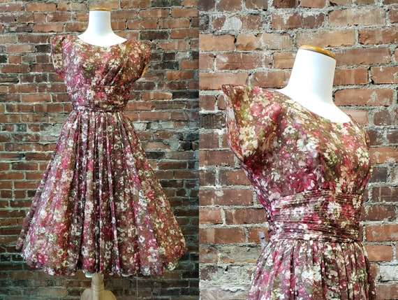 1950s Party Dress - Floral 50s Dress - Small