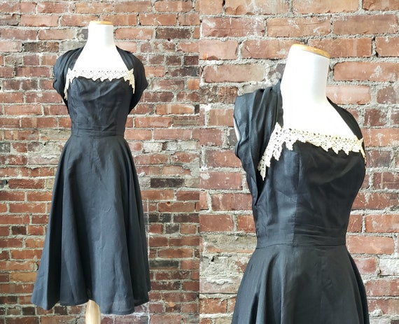 1950s Black Cocktail Dress - Formal 50s Dress - XS