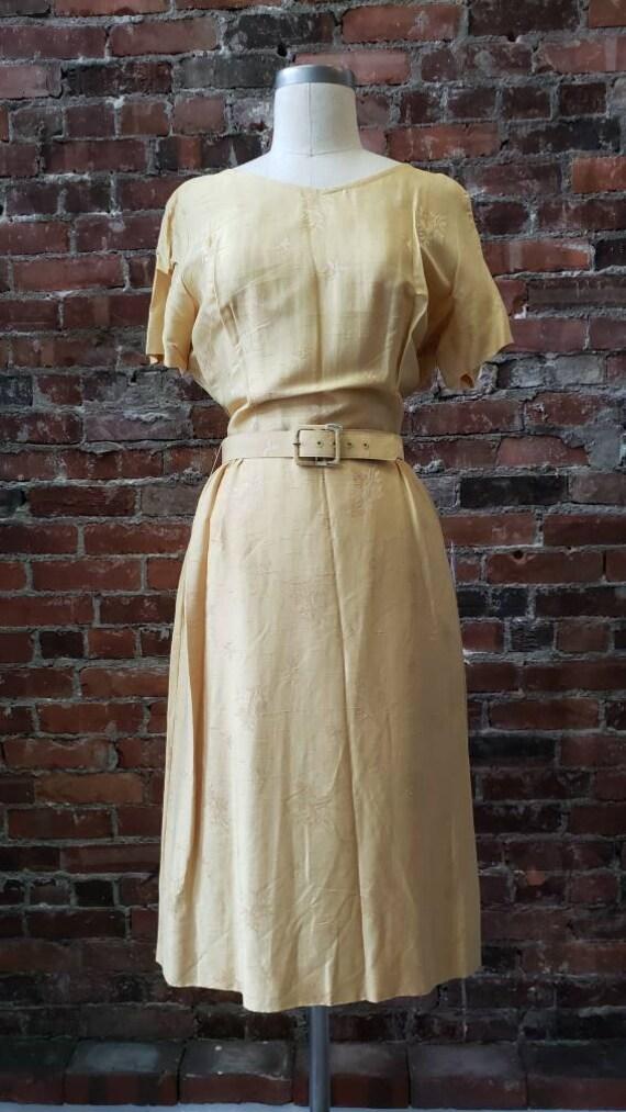 1950s Golden Silk L'Aiglon Dress - Embossed - Med… - image 2
