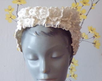 Vintage 1960s  Bridal Headpiece White Embroidered Floral Bridal Piece Ethereal Flowers with Rhinestones