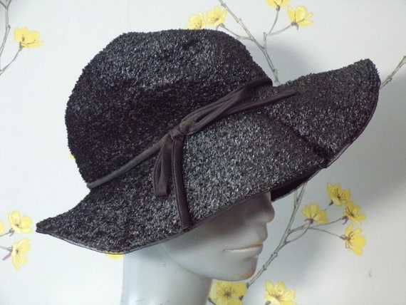 Vintage 1940s Wide Brim Hat Black Raffia Hat With Bow and  f8b5091d9304