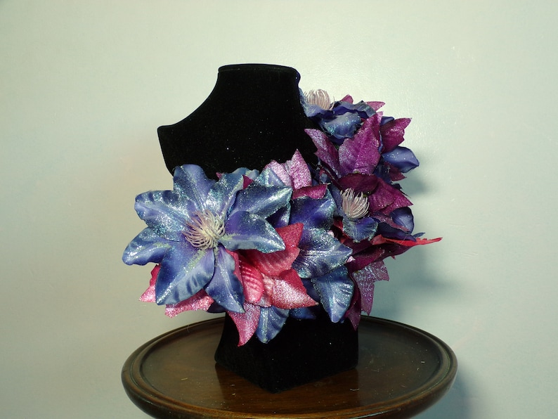 Vintage Style Christmas Corsage Large Purple Clematis with Pink Centre and Magenta and Pink Poinsettia Silver Glitter Finish