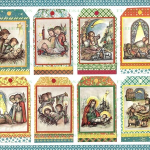INSTANT  Download at Checkout gift tags religious tags Catholic religious collage sheets 3 x 2 tags Madonna and child The Holy Child