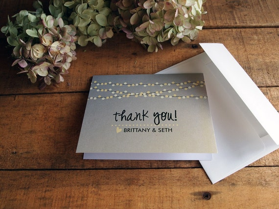 5f9c36caeec1 Wedding Thank You Card Folded Thank You Card String Lights