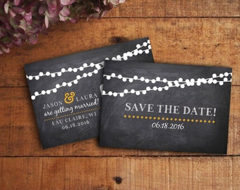 Save the Date Postcard, Chalkboard Save the Date, String Lights Save the Date, Twinkle Lights, Printable Save the Date