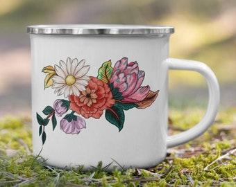 Watercolor Flower Enamel Travel Mug