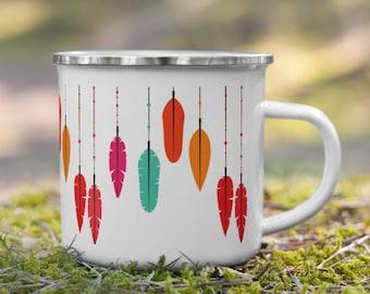 Enamel Travel Mug with colorful Feathers