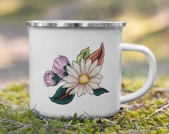 Flower Enamel Mug - The travel mug with flowers for nature lovers