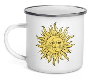 Good Morning Sunshine Enamel Travel Mug with Sun and Moon Print