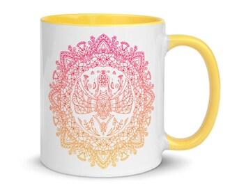 Pink and Yellow Scarab Mandala Mug with Color Inside