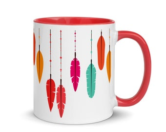 Colorful Feather Mug with Color Inside