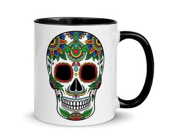 Sugar Skull Mug with Black Inside - Calavera Mug - Not only good for the Day of the Day - Día de Muertos
