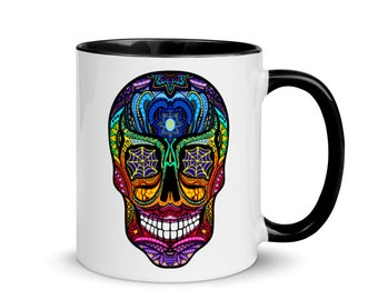 Psychedelic Sugar Skull Mug with Black Inside - Calavera Mug - Not only good for the Day of the Day - Día de Muertos
