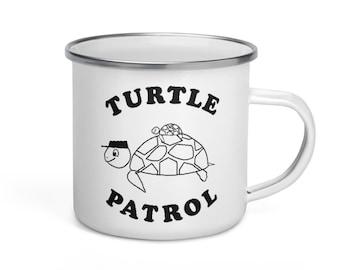 Turtle Patrol Enamel Mug with Mama and Baby Sea Turtle