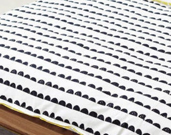 Half Moon Cotton Fabric - Black and White - By the Yard 98176