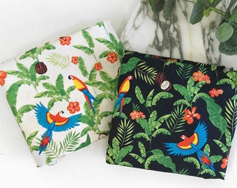 Parrots and Coconuts Cotton Fabric Natural - By the Yard 101452