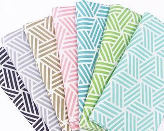 Geometric Weave Cotton Fabric, Geometric Mint Fabric, Geometric Pink Fabric, Geometric Gray Fabric - Fabric By the Yard 95905