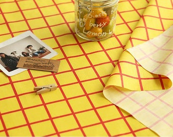 Yellow Red Checkered Cotton Blend Fabric - By the Yard 845-