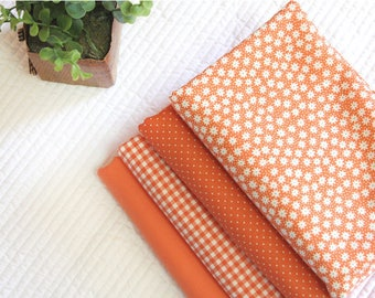 Orange Cotton Fabric, Flowers, Polka Dots, Plaid or Solid - By the Yard 100404