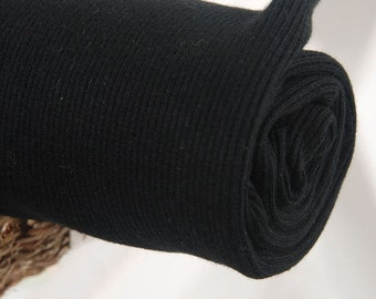 Ribbing Fabric Cotton Rib Knit - Black - By the Yard 41982