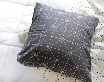 White Lines on Gray Cotton Fabric - Geometric - By the Yard 69055